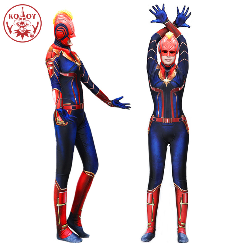 Captain Marvel Cosplay Costume Women Adult Superhero cosplay mask Halloween costume Marvel Carol Danvers Bodysuit Jumpsuits