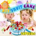 Minitudou Play Food 38PCS Miniature Kitchen Pink Birthday Cake Toy Children Pretend Play Kids Toys For Girls
