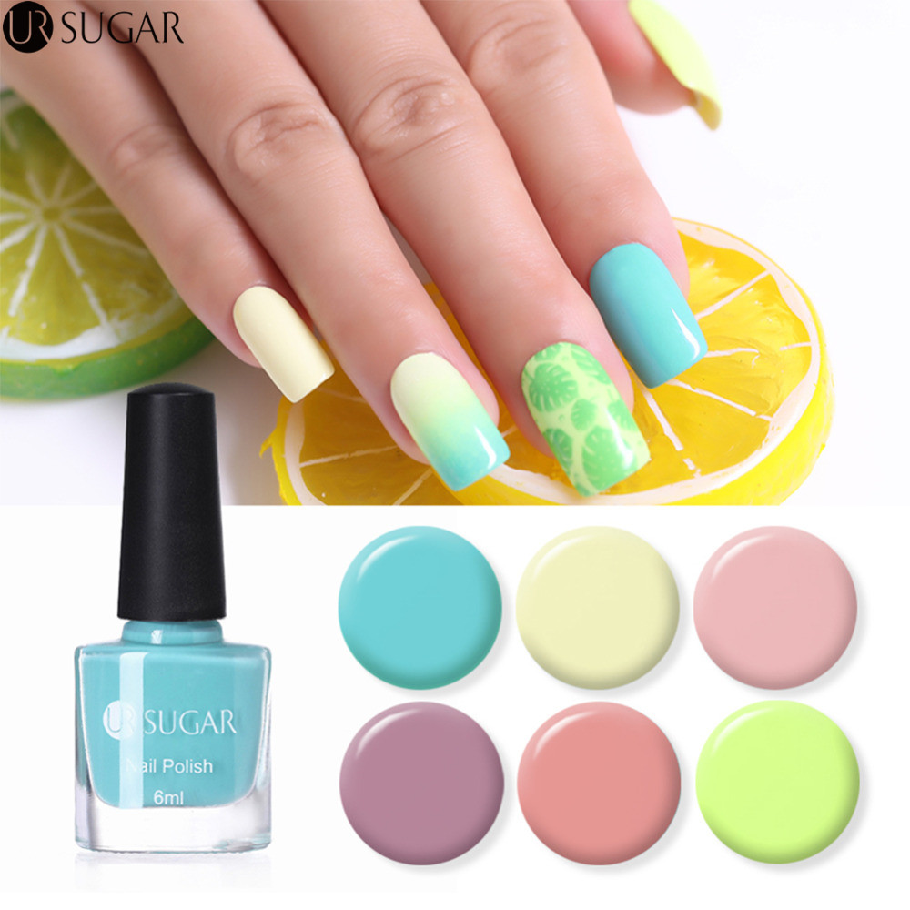 UR SUGAR 6ml Sweet Color Nail Polish Nude Pink Yellow Blue