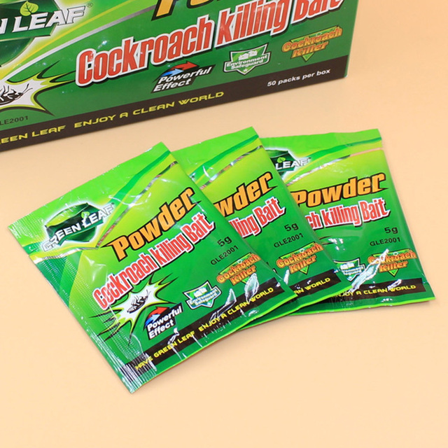 Hot 50Packs Green Leaf Powder Cockroach Killing Bait Insecticide Repellent Russian Cockroaches Killer Repeller Trap Pest control