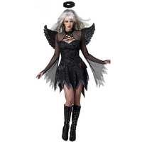 Halloween Costumes Women Fantasy Cosplay Party Fancy Dress Adult Black Angel Costume With Angel Wings W548650