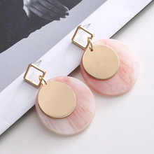 Korean Vintage Color Resin Acrylic Sequin Round Earrings for Women Earings Fashion Jewelry Earing aretes de mujer modernos 2019