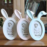 Groothandel Konijn,/Herten/Kat Gezicht Fotolijst Leuke Glimlach Dier Gezicht Hars voor Baby Kid Fotolijsten Desktop Frame