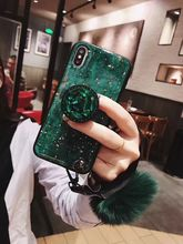 HKGK Gorgeous Red Green Purple Case For iPhone XR X 7 8 Phone Vintage Crystal Cover 6 6s 8plus With Support