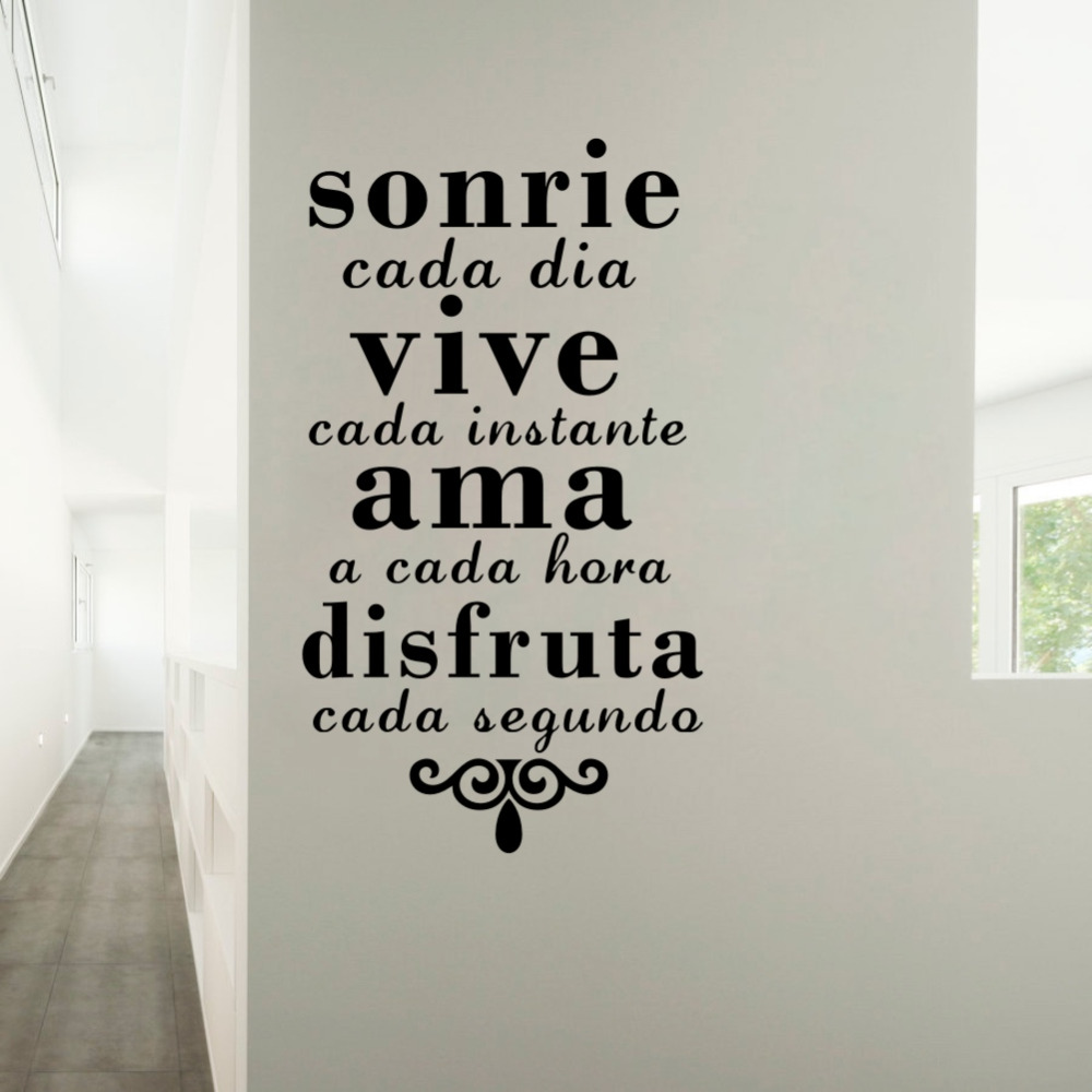 US $6.16 |Inspirational Spanish Quotes Art Decals Smile Everyday Live Every  Moment Art Wallpaper Home Decor Diy Wall Stickers-in Wall Stickers from ...