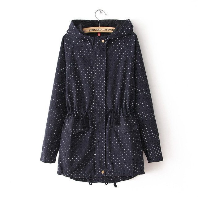 3XLAutumn Winter new Women Trench Coat Cute Polka Dots Hooded windbreaker Fashion Plus Size windbreaker zipper loose trench coat