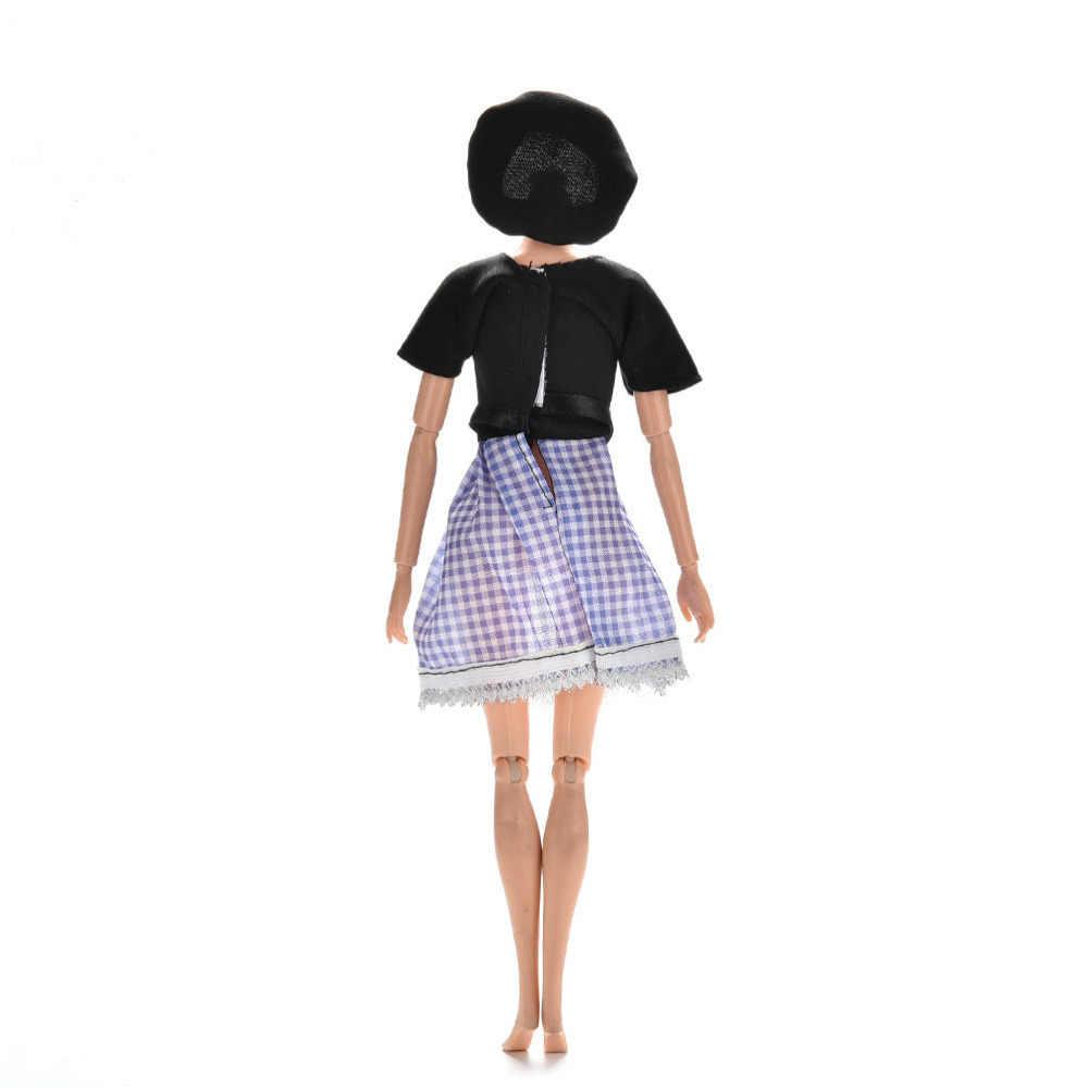 Moda kwiat nadruk w szkocką kratę Fasion sukienka zestaw ubrań dla lalek lato z krótkim rękawem odzież dla lalek dla