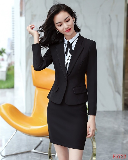 4aa8d0f29d0e New Style 2019 Fashion Formal Ladies Black Blazer Women Business Suits with  Skirt and Jacket Sets Office Uniform Designs
