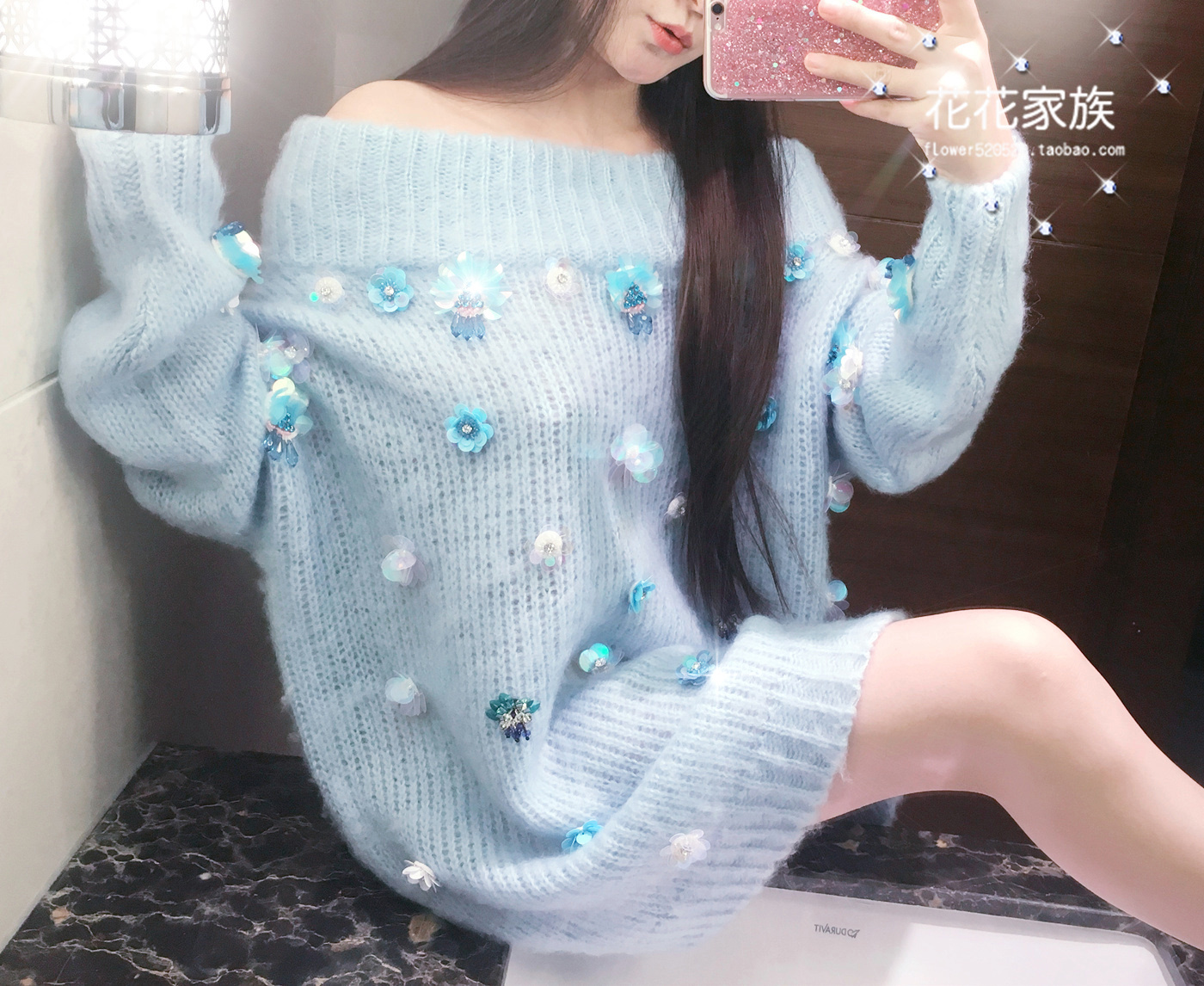 Pullover Top Fashion Poncho Woman Sweater Pearl Sequins Diamond Beaded Pendant Horse Hawai Word Collar Buckle Stick Needle Long