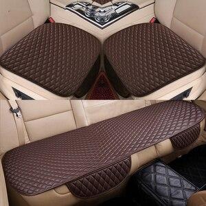 Image 5 - 3 sztuk uniwersalny pokrowiec na siedzenia samochodu PU skórzane poduszki organizator Auto przód tył pokrowce na siedzenia mata ochronna cztery pory roku akcesoria