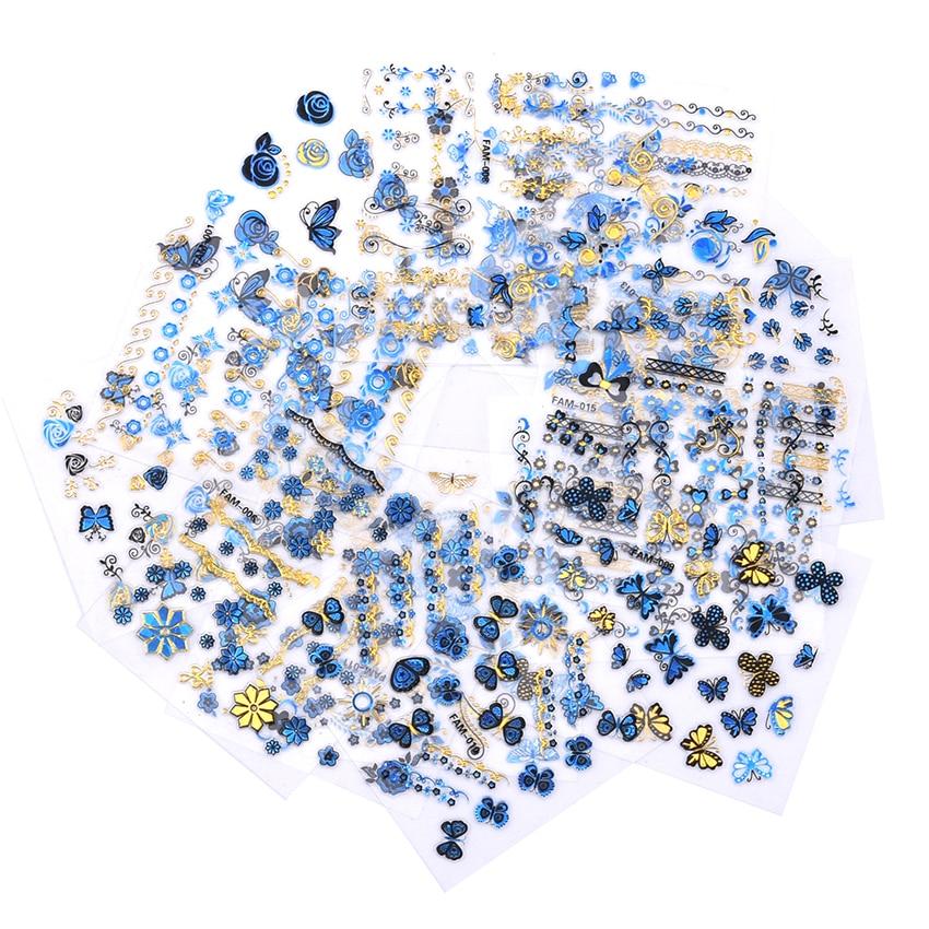 15pcs butterfly nail art nails nagel blue rose flower designer decoration stickers decals. Black Bedroom Furniture Sets. Home Design Ideas