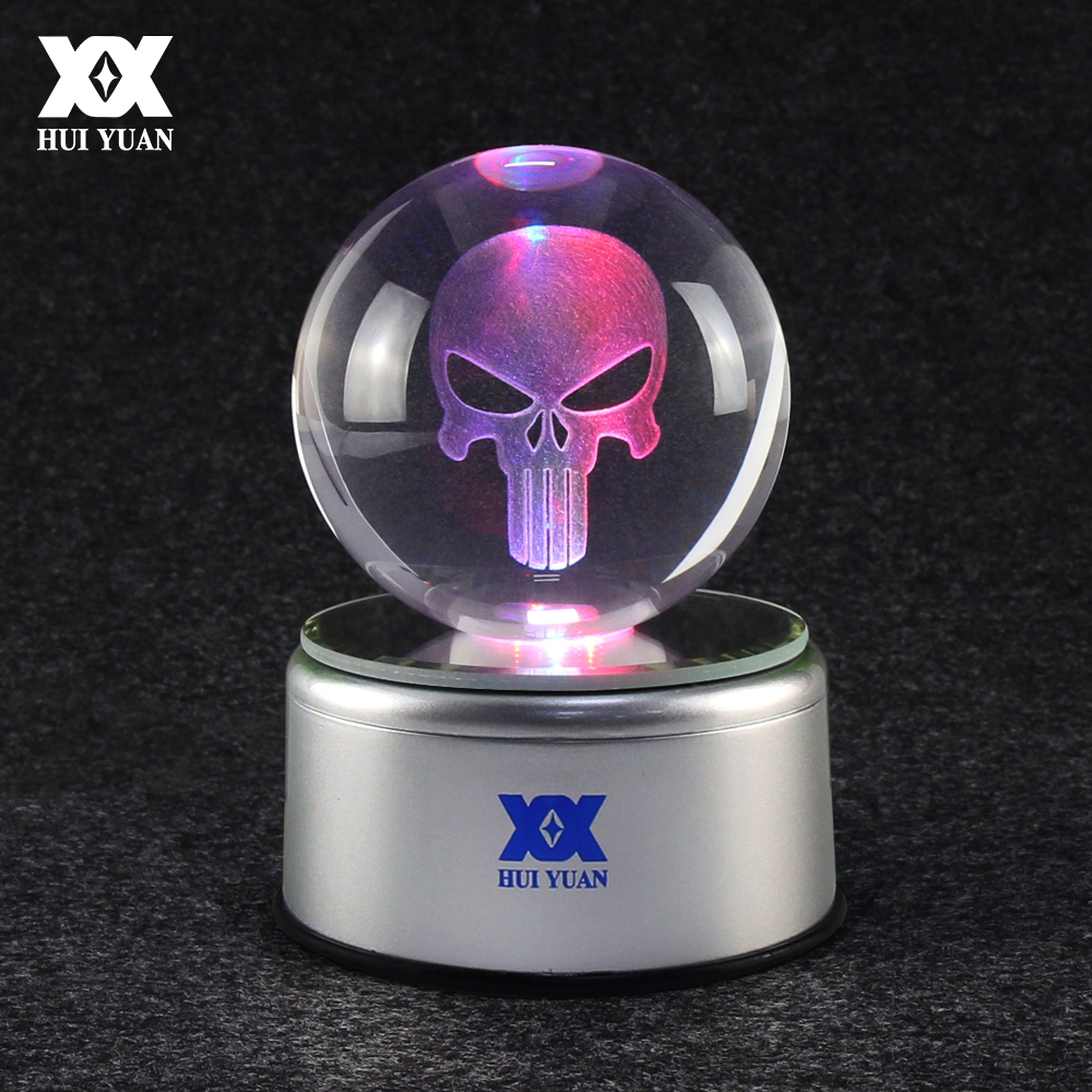 Punisher Skull Logo 3D Crystal Ball Lamp LED Desktop Decoration 7 Color Rotate Glass Ball Night Light Child's Christmas Gift mylb digital wireless doorbell door bell wireless doorbell 32 tunes remote control durable