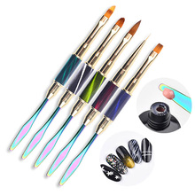New Double Side Painting Gel Brush Dual End Nail Art Lining Sculpture Pen French Manicure Poly Gel Spatula 2 Way Tool New Design цена
