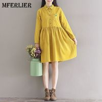 Mferlier Mori Girl Artsy Corduroy Autumn Dress Turn Down Collar Pineapple Embroidered Long Sleeve Waist Pleated