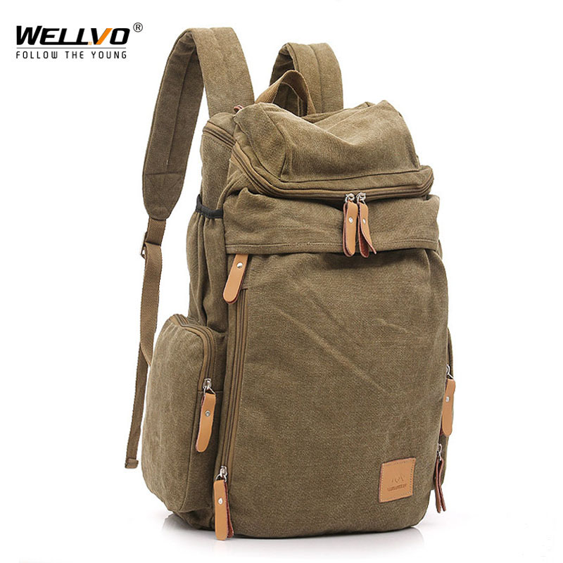 Wellvo Top Quality Canvas Large Capacity Travel Backpacks Men Casual Bag Casual Bucket Bags For Travel