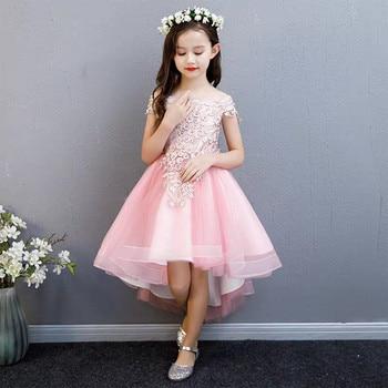 Children Kids Korean Sweet Pink Appliques Flowers Shoulderless Birthday Wedding Party Princess Prom Dress Girls Fluffy Dresses