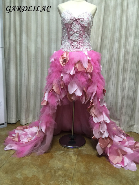 100% Real Hi-Low Prom Dress with  applique feathers Long Court train vestidos de festa Sweetheart Sleeveless Eveing gown