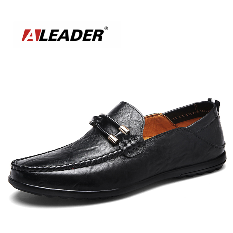 ALEADER Big Size Men Shoes 2018 Fashion Slip On Casual Loafers Split Leather Driving Shoes Stylish Male Boat Flats Men Moccasins men s crocodile emboss leather penny loafers slip on boat shoes breathable driving shoes business casual velet loafers shoes men