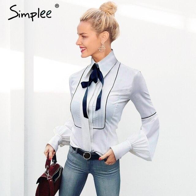 Simplee элегантные с пышными рукавами белая блузка рубашка осень 2017 г. зима рукав лук блузка женская Blusas Тонкий Новые Топы сорочка Femme