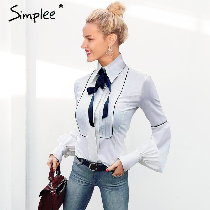 Simplee Elegant bow tie women white   blouse     shirt   Long puff sleeve female casual streetwear top   shirt   Solid ladies   blouse   2019