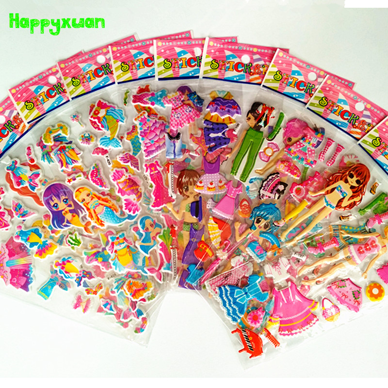 Happyxuan 12 sheets/lot Cute Puffy Stickers for Girls Mermaid Dress Up Changing Clothes Education Toys 6 sheets lot 3d puffy bubble stickers mixed cartoon kawaii stickers toys dress up girl changing clothes kids toys for children