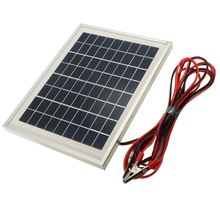 5W 12V PolyCrystalline Cells Solar Panel storge energy charger DIY Solar Module with Block Diode+2x  Alligator Clips+4m Cable