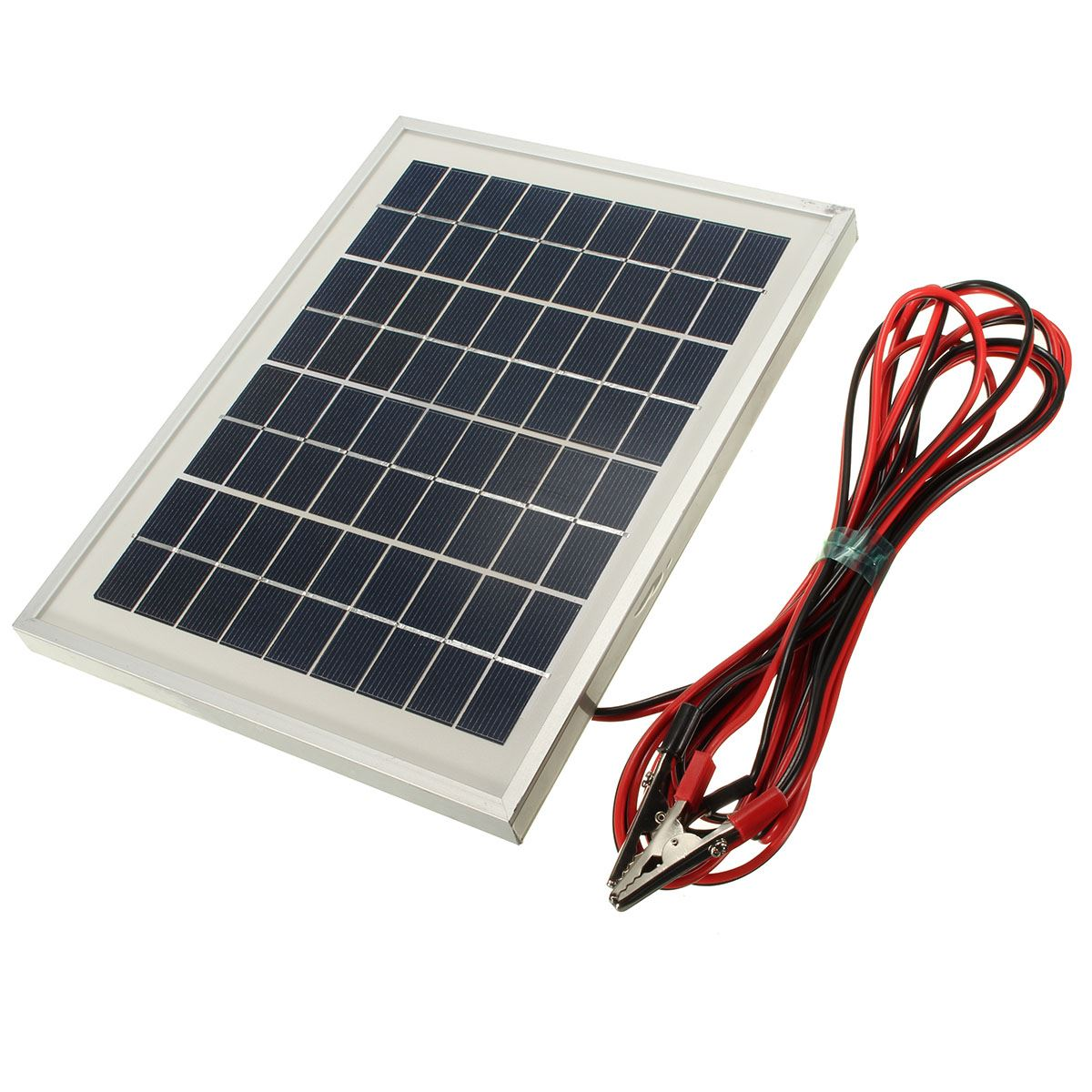 LEORY 5W 12V PolyCrystalline Cells Solar Panel storge energy charger Solar Module with Block Diode+2xAlligator Clips+4m Cable