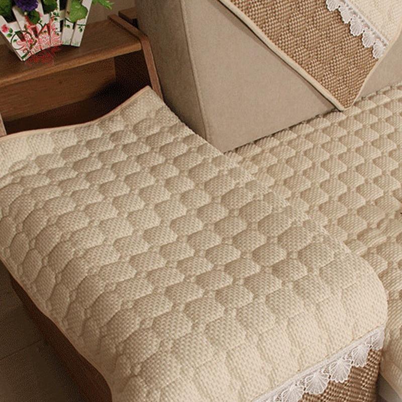 European beige cotton linen quilted sofa cover cotton sectioanl
