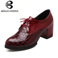 BONJOMARISA Fashion Vintage Lace Up Ol Pumps Women Big Size 34 43 Western Style Platform High Heels Dress Shoes Woman Footwear