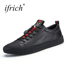 Ifrich Spring Summer Men Leather Fashion Shoes Black White Male Flat Split Leather Shoes Comfortable Man Casual Footwear