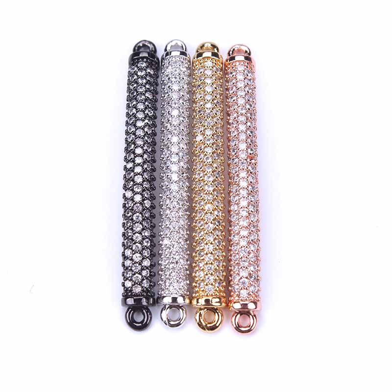 1pc 4*48mm Micro Pave Cubic Zircon Bracelet Connector Tube Gold Silver Color Copper DIY Jewelry Components