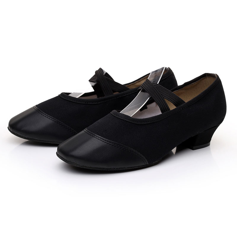 s new arrival black canvas shoes low heel