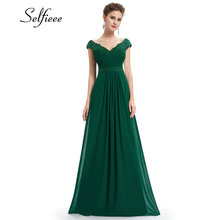 Wedding Party Gowns Plus Size Ladies Lace Dresses Women's Long Elegant V-neck Sleeveless A-line Chiffon Formal Dress Vestidos
