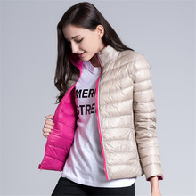 Women Down jacket Down Coat New Double-sided Wear Short Paragraph Europe Wind Slim Thin Section Collar