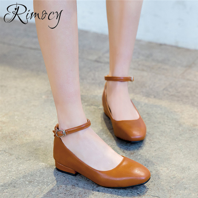 Rimocy Comfortable Low Heel Shoes Woman Round Toe Pumps Ankle Strap
