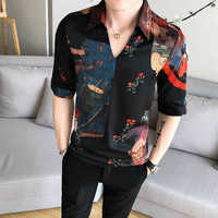 V-Collar Chinese Style Shirt Men Slim Fit Korea Clothes Men Half Sleeve Summer Designer Club Shirt Camisa Masculina Chemise