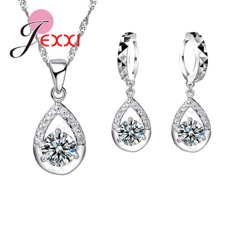 New Arrival Waterdrops Charming Pendant Necklace Jewelry Set with Dangle Earrings Crystals 925 Sterling Silver  Accessory