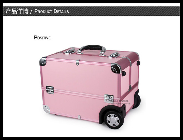 EMS Free Shi[pping Professional Cosmetic Case Trolley Beauty Box Makeup Case with wheels Pink