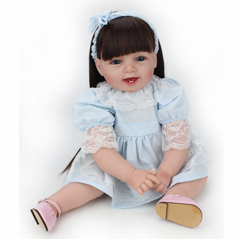 Silicone Reborn Baby Educational Princess Baby Doll 22 Inch Cloth Body Lifelike Vinyl Babyborn Dolls Long Hair Wigs стоимость