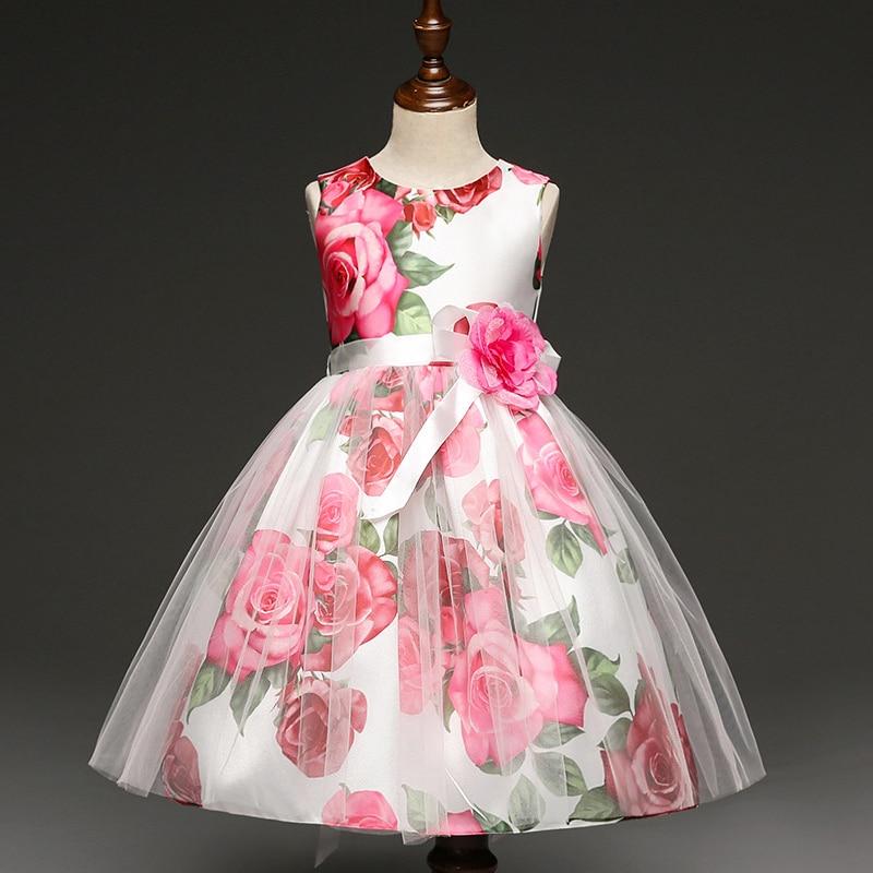 144 32 De Descuentovestido De Niña Estampado De Flores Niña Encaje Rosa Princesa Vestido De Fiesta De Boda Bebé Niña Ropa De Verano Vestidos De