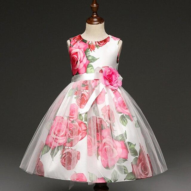 Vestido estampado de flores chica Encaje Rosa princesa vestido ...