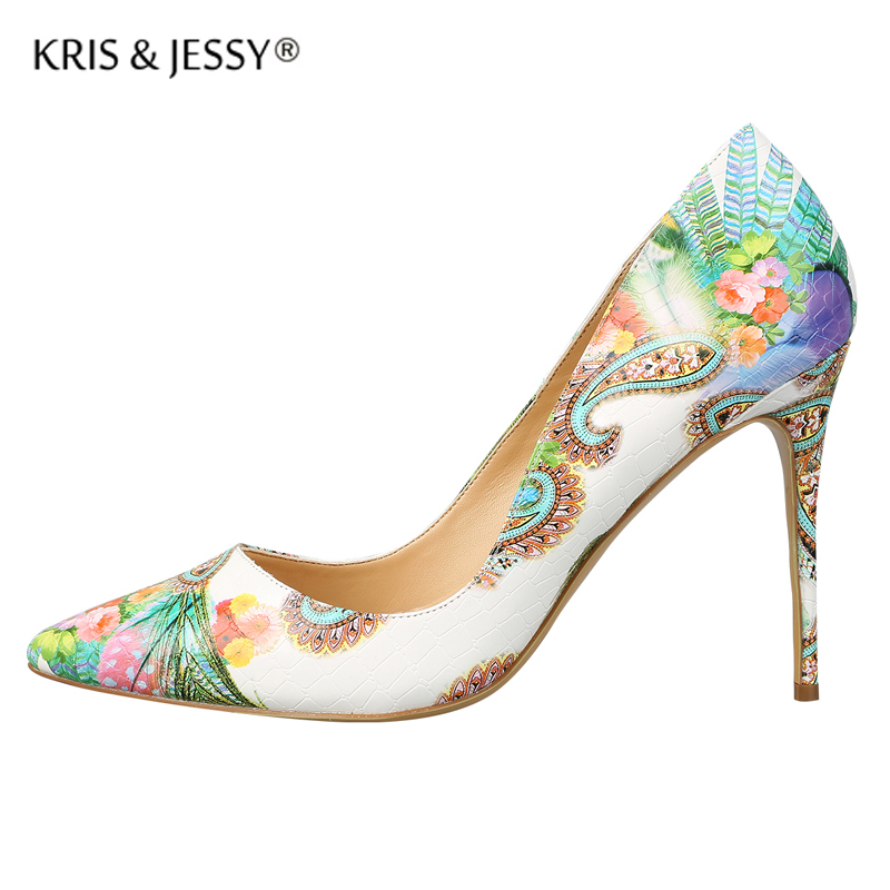 Beautiful Peacock Pattern Thin High Heels Women Pumps  Genuine Leather Real Shallow Cutting Woman Wedding Party Shoes beautiful darkness