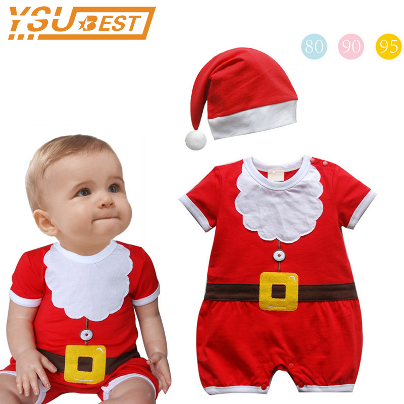 New 2017 Christmas Baby Boys Girls Rompers 0-3yrs Newborn Clothing Fashion Baby Clothes Cotton Christmas Rompers + Cap 2pcs/lot