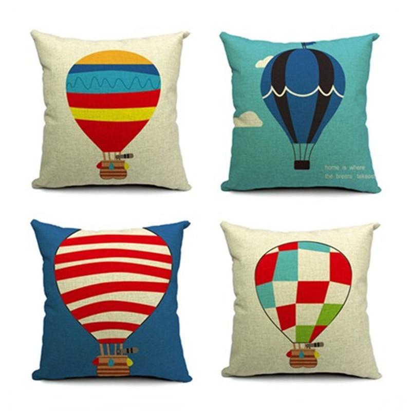 Hot Air Balloon Pillow Case Square Cushion Cover Pillowcase For Office Sofa Home Decor F