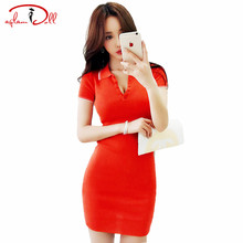 2017 Summer Mini Polo Shirt Dress Short Sleeve Slim Bodycon Professional knitted Office Dress Women Work Cloth