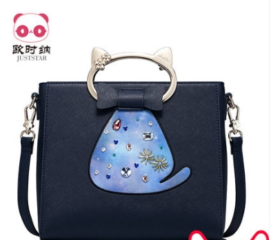 Princess sweet lolita JUSTSTAR bag Winter fun cute cat portable satchel bag shoulder bag Korean all-match small handbag M171151