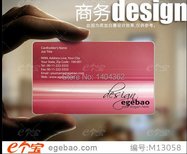 Customized business card printing Plastic transparent /White ink PVC Business Card one faced printing 500 Pcs/lot NO.2034