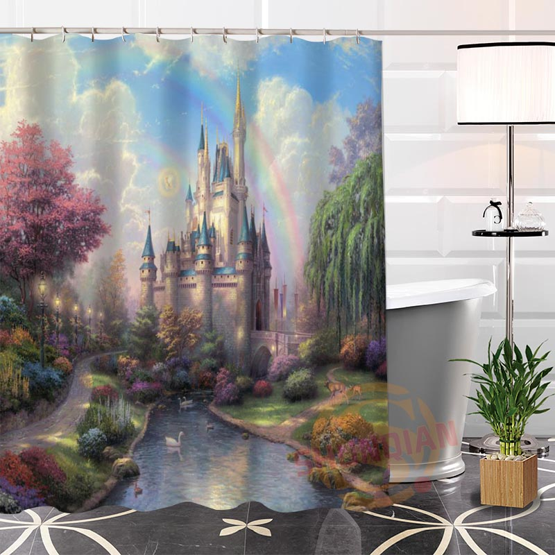 New Eco Friendly Custom Unique Fairy Castle Fabric Modern Shower Curtain  Bathroom Waterproof For Yourself H0220 20