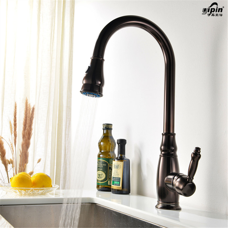 European Kitchen Faucet Brass Brushed Nickel High Arch Kitchen Sink Faucet Pull Out 360-degree Rotation Spray Mixer Tap Lt36 цена и фото