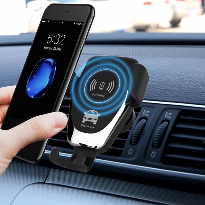 picK-me Automatic Clamping Car Charger Mount Holder for Air Vent Windshield Dashboard Wireless Car Charger Black Qi 15W Fast Charging Compatible with 4.0-6.5in iPhone and Android Smartphone
